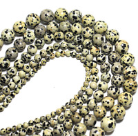 For Bracelet Jewelry DIY Lot Natural Stone Dalmatian Spot Loose Beads 4 6 8 10mm