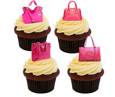 Pink Handbags Edible Cup Cake Toppers, Standup Fairy Bun Decorations Girl Female