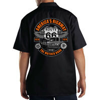 Dickies Black Mechanic Work Shirt Americas Highway Route 66 Hot Rat Rod Car