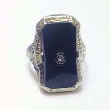 ANTIQUE ART DECO 14K WHITE GOLD ONYX DIAMOND RING WOMENS LADIES SZ 5.5 FILIGREE
