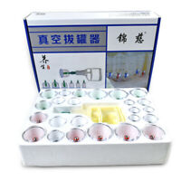 24 Cups Vacuum Cupping Set Kit Massage Acupuncture Suction Massager Pain Relief