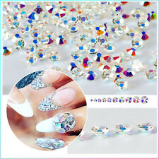 1Bag Nail Rhinestone 3D Nail Art Decoration Flat Bottom Shiny Colorful Studs