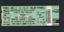 2002 Creed Unused Concert Ticket Tweeter Center Chicago Weathered