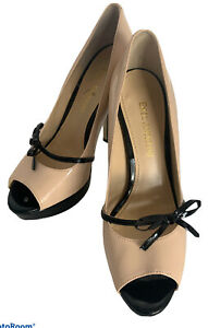 Enzo Angiolini Peep Toe Pumps Size 5.5M 5 In Heels Cream black Bows