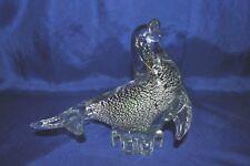 "Vtg Art Glass Sea Lion Seal Silver Blue Speckles Inside Solid Lead Crystal 7.5"""