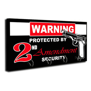 Warning Protected By 2 Amendment Security Wood Key Hanger Dog Leash Holder