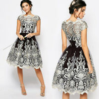 Fashion Women Lace Prom Floral Formal Evening Party Bridesmaids Ball Gown Dress