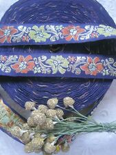 Vintage French Ribbon Trim With Orange & Yellow Flowers With Metal Thread 4 Yds