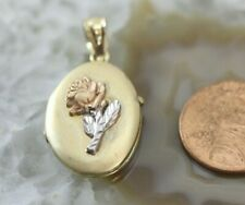 "14K TRI-COLOR GOLD ""Rose"" Locket/Necklace Pendant: 5.3 Grams"