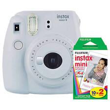 Fujifilm Instax Mini 9 Instant Film Camera (Smokey White) with Film Bundle