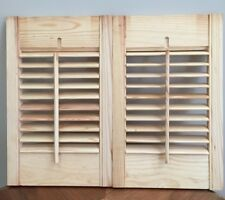 """One pair / Unfinished Interior Pine Wood Louvered Shutters 10"""" W x 16"""" L """"As Is"""""""
