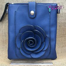 Navy Rose Small Bag with Smart Phone Spectacle Holder Long Cross Body Strap