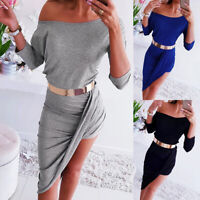 Womens 3/4 Sleeve Crew Neck Bodycon Dress Ladies Summer Party Cocktail Dresses