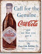 """COCA Cola/Coke, chiamare per il Originale, Retrò In Metallo Muro Firmare 12.5""""X 16"""" (41X30 cm)"""
