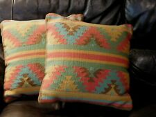 "Herat 18"" Pillow Cover Southwest Western Turquoise brown gold grn red Muted"