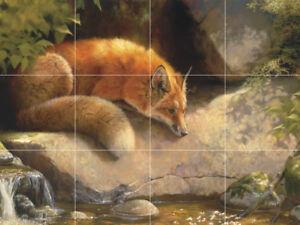 """red fox wildlife nature forest ceramic tile mural  24""""x18"""" backsplash medallion"""