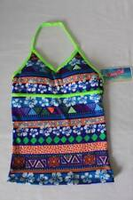 NEW Girls Tankini Top Swimsuit Size Large 10 - 12 Blue Green Floral Halter Top