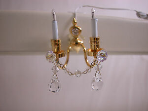 Heidi Ott Dollhouse Miniature Light 1:12 Scale Crystal  Wall Lamp #YL7003