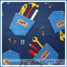 BonEful Fabric Fq Cotton Vtg Blue Denim Pocket Fix It Tool Box Lg Man Boy Hammer