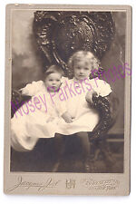 Antique Photo Children Baby Curly Headed Girl Carved Chair c 1900 NY Vintage
