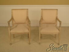 L23573E: Pair Egyptian Revival Paint Decorated Carved Open Arm Chairs