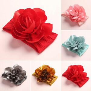 Baby Girl Solid Big Flowers NylonWide Headband Turban Headwrap Hair Accessories