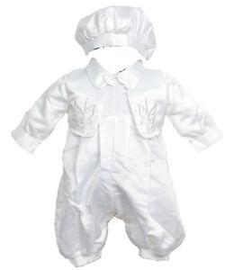 Boys White Satin Christening Three Piece Set Outfit 0 3 6 9 12 Months