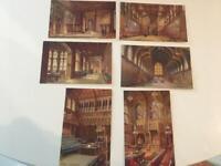 Tuck Oilette England Houses of Parliament 1911 Set 6 Interior 7906 Signed Flower