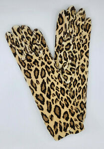 * WOW! ELEGANT LIGHT LEOPARD PRINT VELVET LUX STRETCHY GLOVES * NEW WITH TAG *