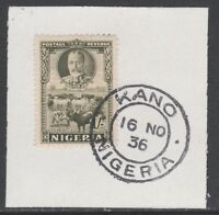 Nigeria 5535 - 1936 KG5 1s Pictoria on piece with MADAME JOSEPH FORGED CANCEL
