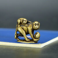 Chinese old collection handwork bronze Monkey with peach Pendant