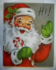 Waving Santa w candy cane 50's Mcm vintage Christmas greeting card unused *7B