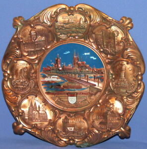 Vintage West Germany Ornate Copper Wall Hanging Plate
