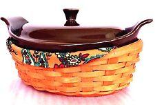 Chocolate 2 Qt Casserole Spice Crescent Basket Savannah Floral Liner Longaberger