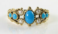 DIVINE 9K 9CT GOLD PERSIAN TURQUOISE &  PEARL ART DECO INS RING FREE RESIZE