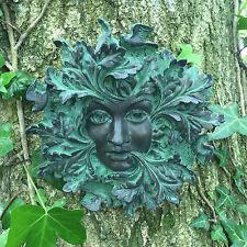 Bronze Queen Green Man Garden Gift Wall Plaque Outdoor Ornament Decoration 09056