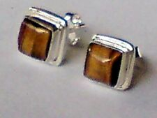 STERLING SILVER 8mmSQUARE STUD EARRINGS withTIGERS EYE CABOCHON STONES £10.50nwt