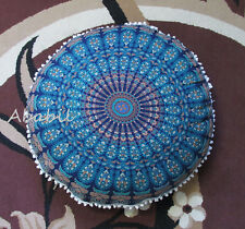 "28"" Indian Blue Mandala Floor Pillow Cover Art Cushion Ottoman Cover Round Throw"