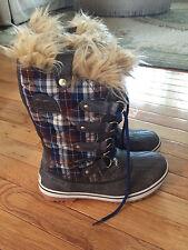 SOREL Plaid Womens Winter Boots Blue Gray Tan Fur Size 7