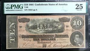 T-68 1864 $10 Ten Dollar CSA Confederate Note  PMG 25 VERY FINE BRIGHT PF-15