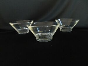 3 Clear Glass CONE SHAPED Cereal Bowls SET of THREE
