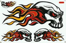 PLANCHE A4 TUNING 5 AUTOCOLLANT STICKER TRIBAL SKULL FIRE ROUGE 26,5 X 17,5 CM
