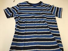 Kid's Clothing T Shirt Two Tone Blue Stripe L14/16 Preowned 60/40 Cotton Poly