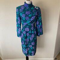Vintage Rickie Freeman Teri Jon 80's Dress Silk