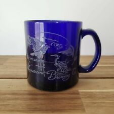 Vintage Mendocino Brewing Company Mug Etched Blue Glass Coffee Cup