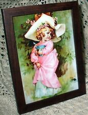 SHABBY BROWN FRAME LITTLE MISS MUFFET SPARKLY PRINT CHIC FRENCH COTTAGE DECOR
