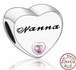Nanna Grandma Heart Charm Genuine 925 Sterling Silver 💞 Fits Moments Bracelets