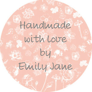 24 Personalised Round Floral Handmade with love Stickers Labels