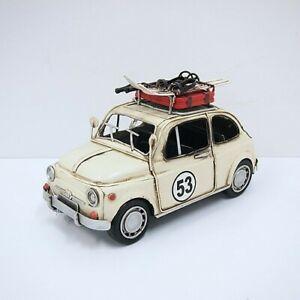 Vintage Detailed 1967 Fiat With SKi Board Car Diecast Figurine Statue Artwork