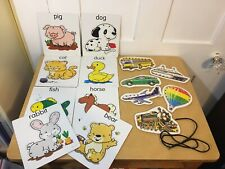 Lacing Cards Lot Sewing Educational Game Fine Motor Transportation Animals